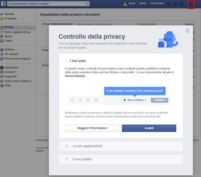 strumento di controllo privacy facebook