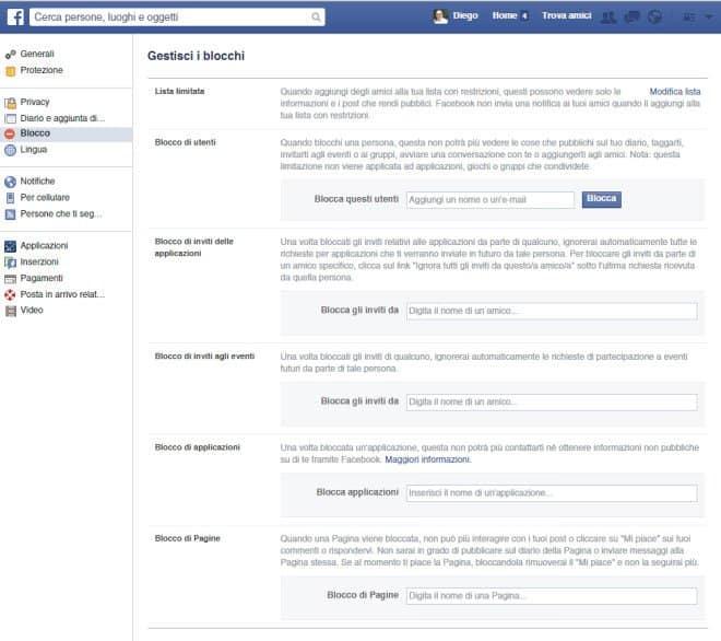 Sezione Applicazioni su profilo Facebook