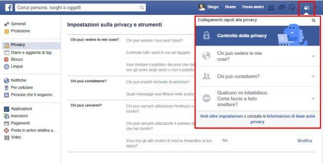 Controllo privacy profilo Facebook