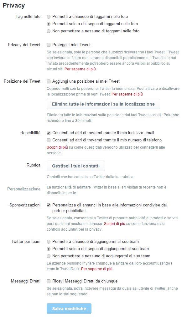 Le impostazioni della privacy su Twitter