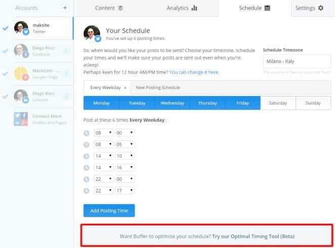 Imposta la schedulazione per gestire gli orari migliori per pubblicare sui social network