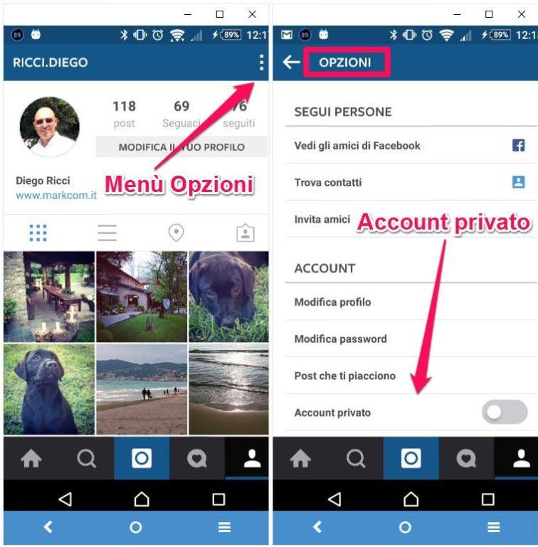 profilo privato instagram come metterlo