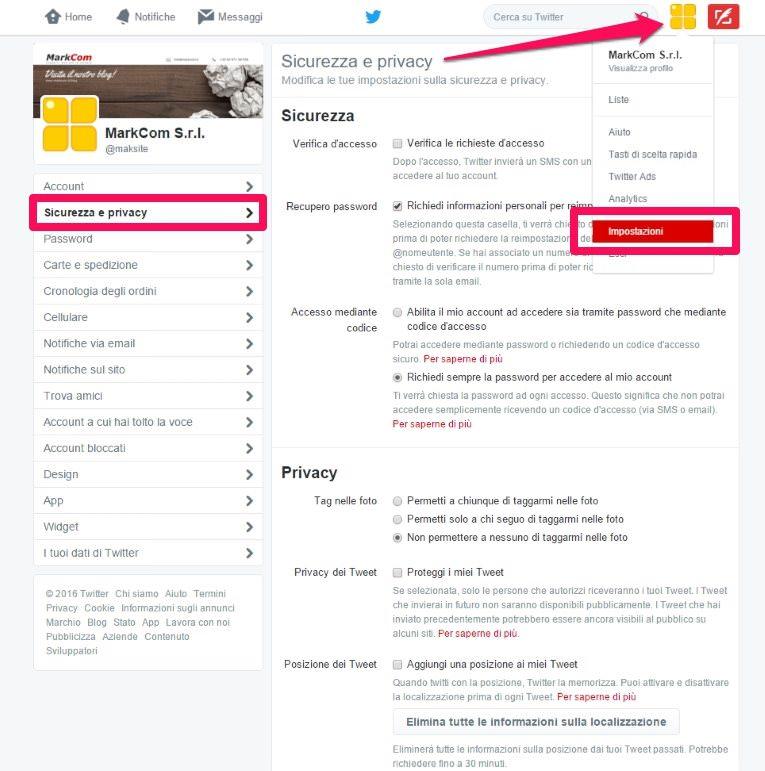Le impostazioni per proteggere la privacy su Twitter