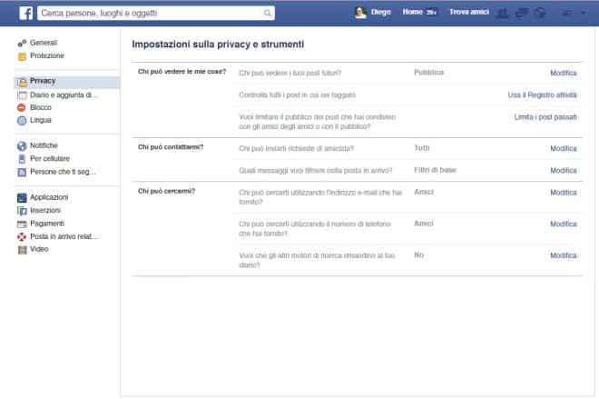 Impostazioni privacy account Facebook