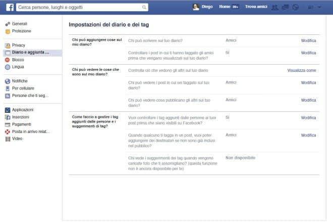 Diario e tag su Facebook - privacy