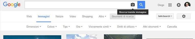 Cerca immagine su Google con caricamento da pc