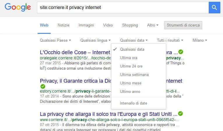 Come cercare con Google - ricerca in un sito