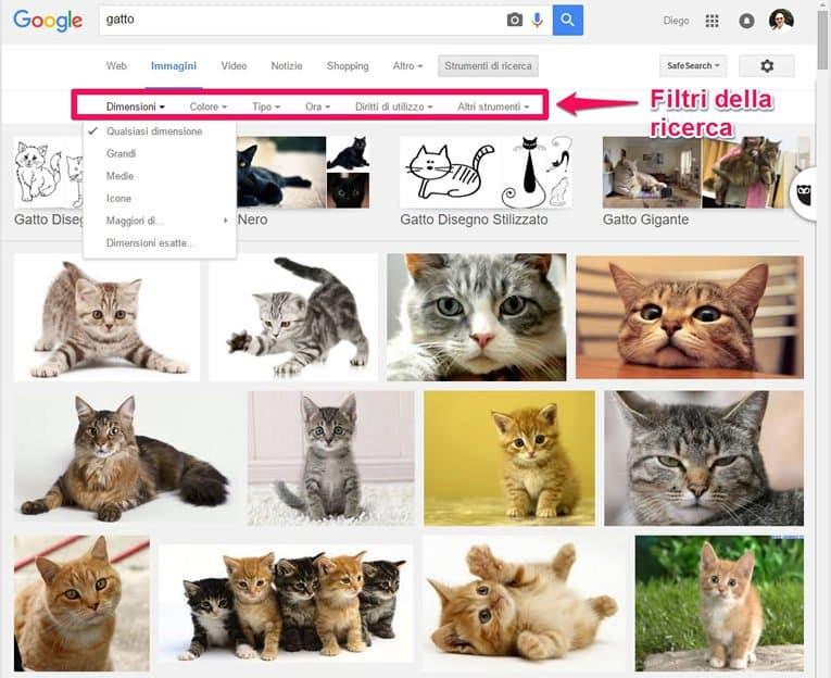 Cercare immagini con Google