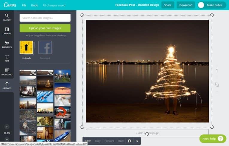 Modificare immagini per siti web utilizzando Canva