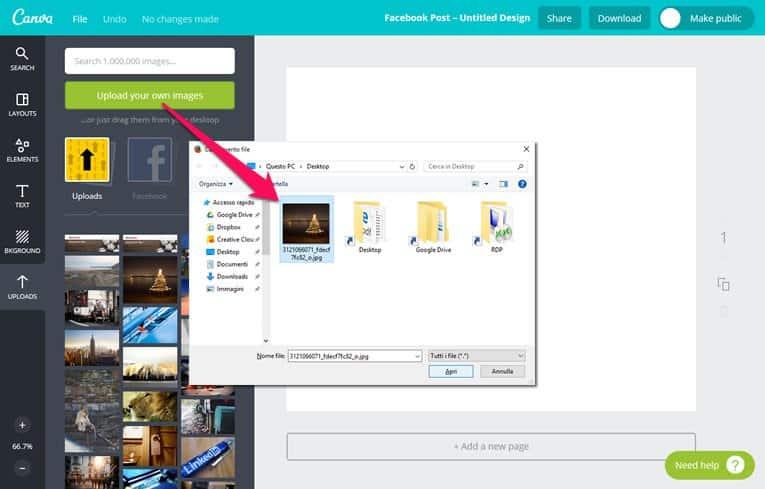 Caricare immagini per siti web utilizzando Canva