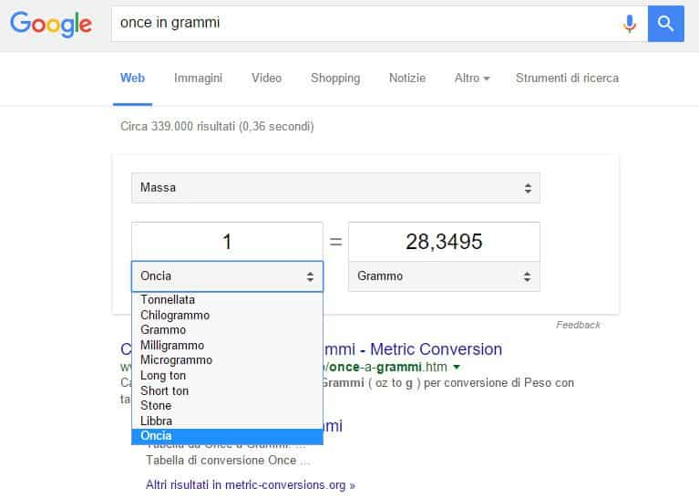 Calcola unità misura su Google