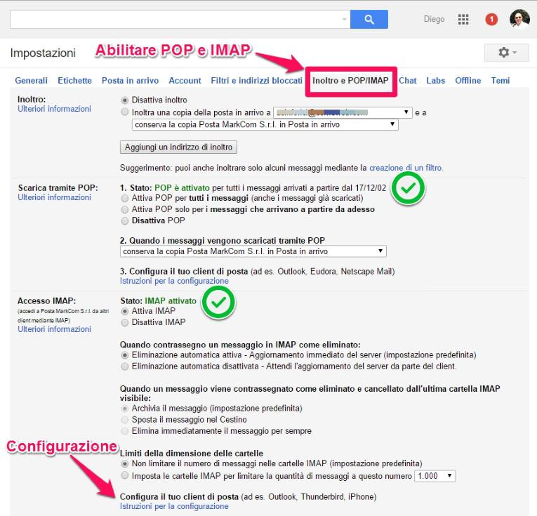 Come abilitare il POP e IMAP su un account Gmail