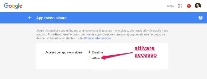 Come attivare app meno sicure su gmail