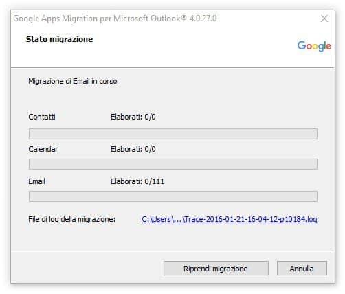 Google migration tool avanzamento migrazione dati