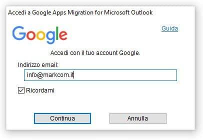 Google migration tool login