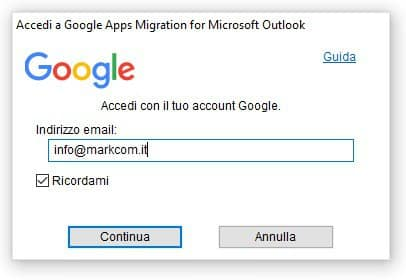 Google migration tool login