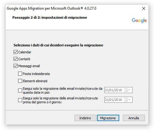 Google migration tool - scegli i dati per la migrazione