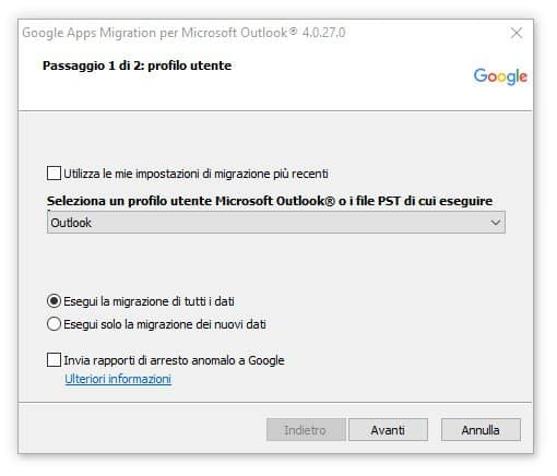Google migration tool outlook - selezionare account outlook