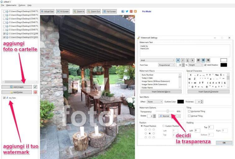 Come proteggere le foto con le scritte trasparenti