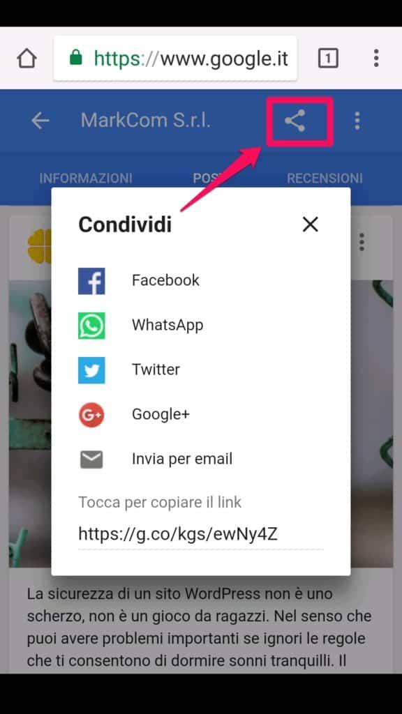 Condividi il post di Google My Business sui social