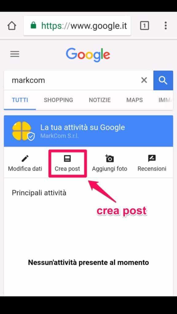 Crea un post su Google My Business da mobile