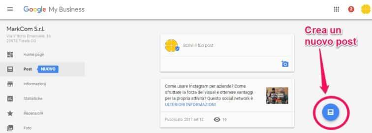 Crea un post di Google My Business