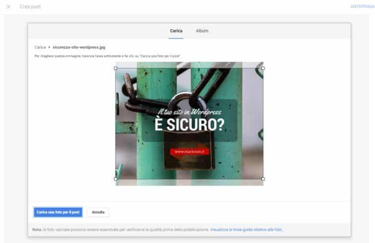 Inserisci foto nel post di Google My Business