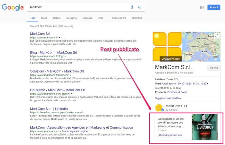 Pubblica il post di Google My Business